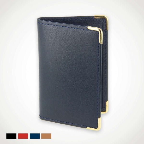 Porte carte bancaire cuir cuir bleu-marine
