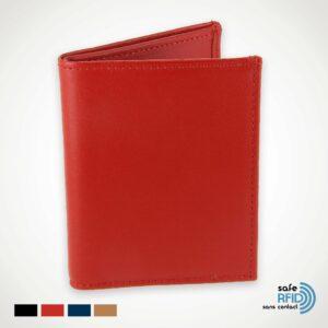 Porte-carte 4 cartes Porte-billet cuir Protection carte paiement sans contact RFID rouge