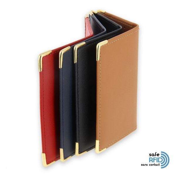 porte carte cuir protection carte sans contact rfid 4 couleurs