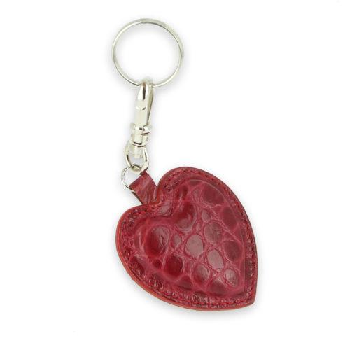 porte clefs coeur cuir croco2 rouge rose