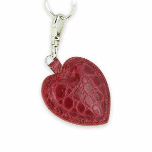 porte clefs coeur cuir croco1 rouge rose