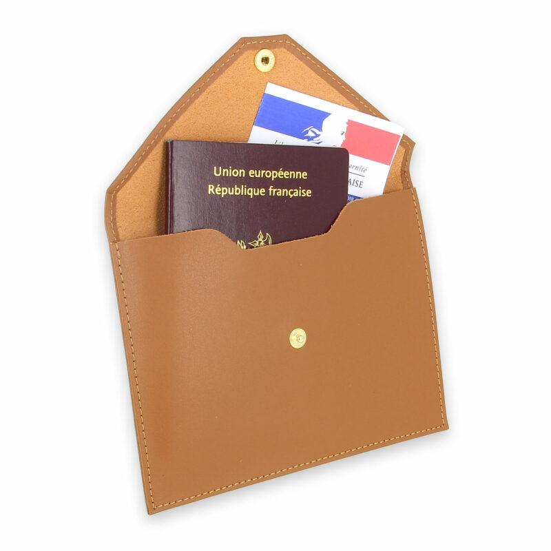 pochette documents cuir beige gold 3