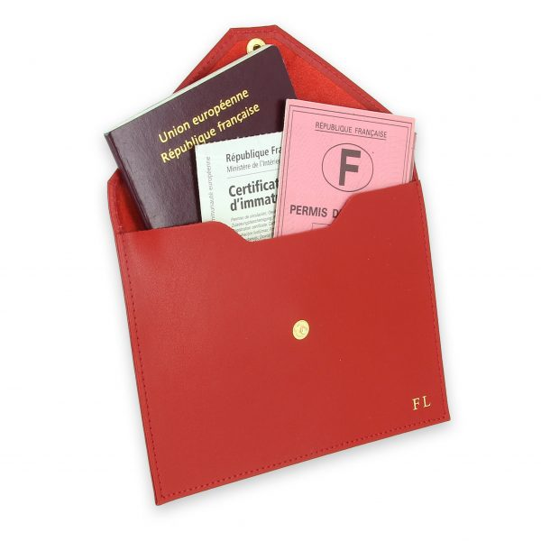 pochette documents cuir rouge 3