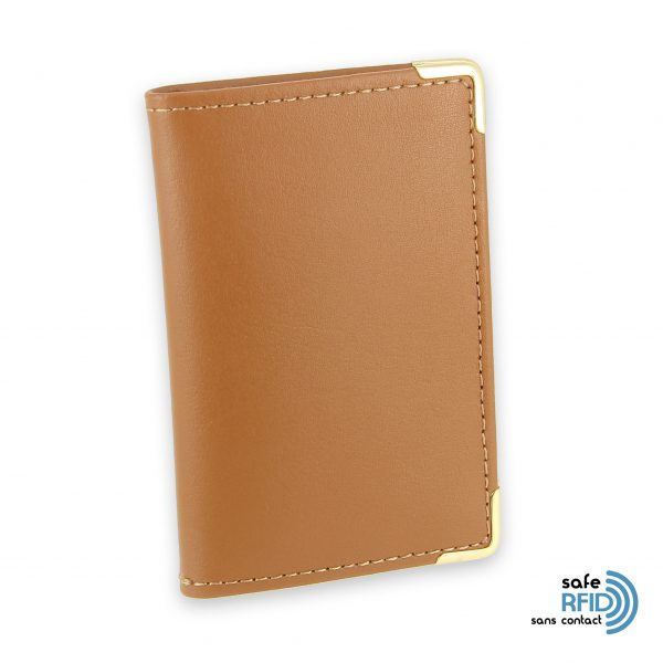 porte cartes cuir protection carte sans contact rfid beige gold 2