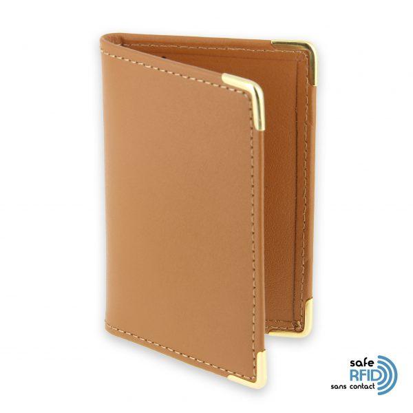porte cartes cuir protection carte sans contact rfid beige gold 1