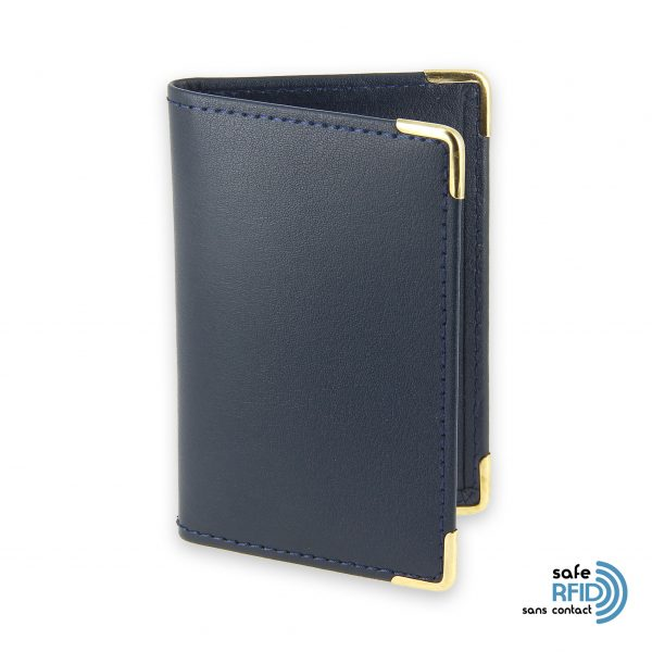 porte cartes cuir bleu marine protection carte sans contact rfid 2