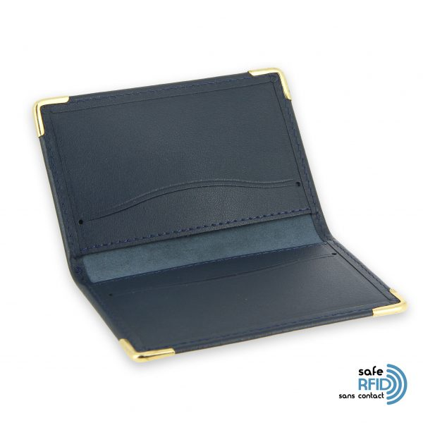 porte cartes cuir bleu marine protection carte sans contact rfid 3
