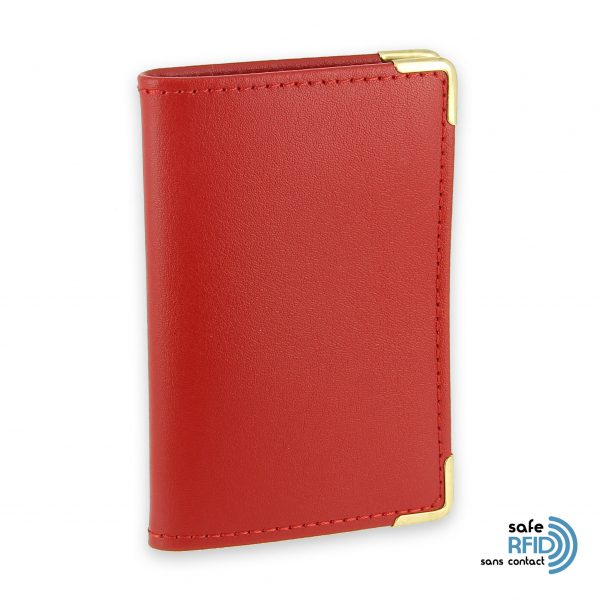 porte cartes cuir rouge protection carte sans contact rfid 2