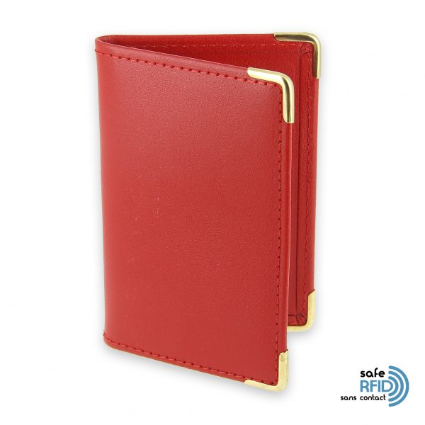 porte cartes cuir rouge protection carte sans contact rfid 1