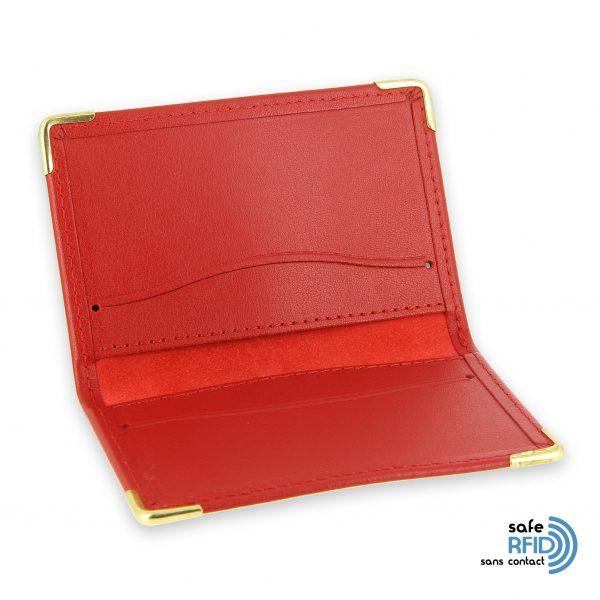 porte cartes cuir rouge protection carte sans contact rfid 3
