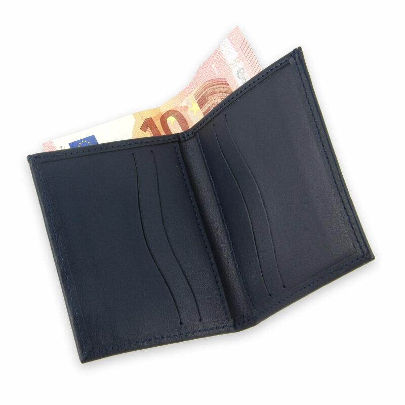 porte-cartes cuir 4 cartes porte-billets bleu marine cuir 4