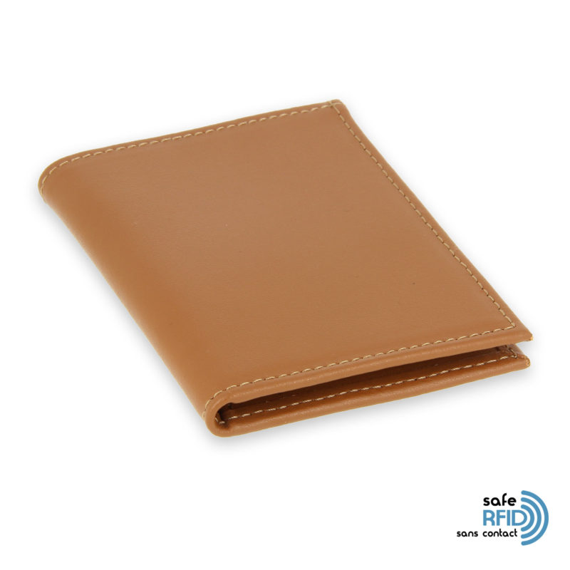 card holder leather 4 cards bill holder beige gold leather contactless card protection rfid 2