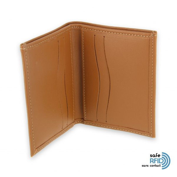 card holder leather 4 cards bill holder beige gold leather contactless card protection rfid 3