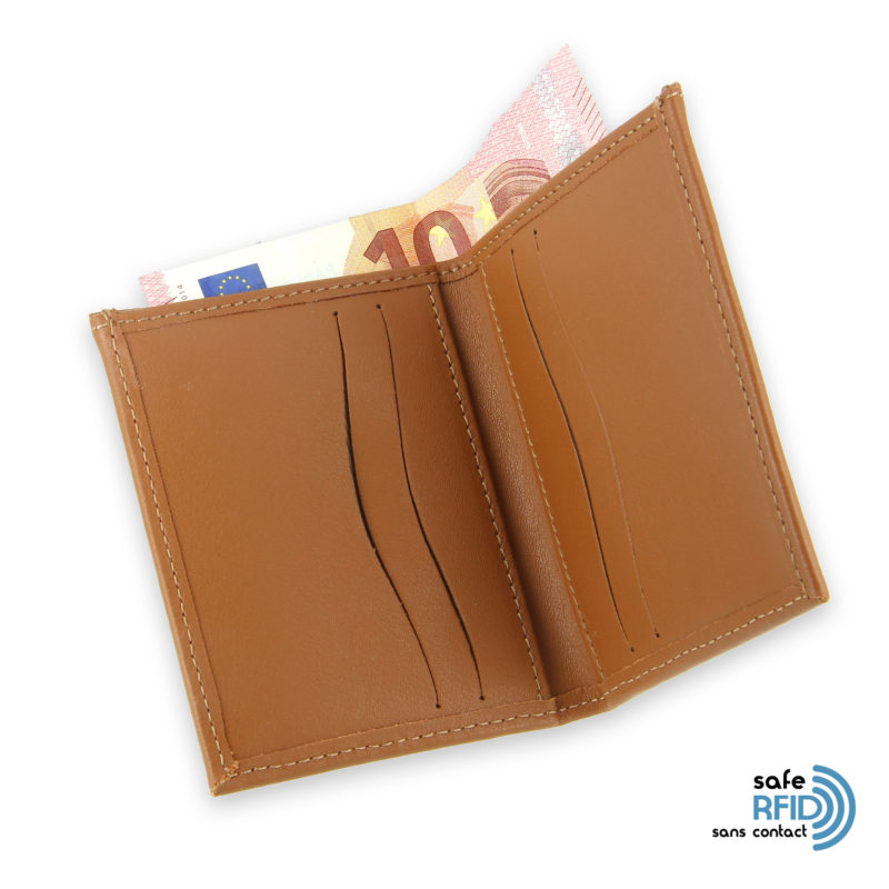 card holder leather 4 cards bill holder beige gold leather contactless card protection rfid 4