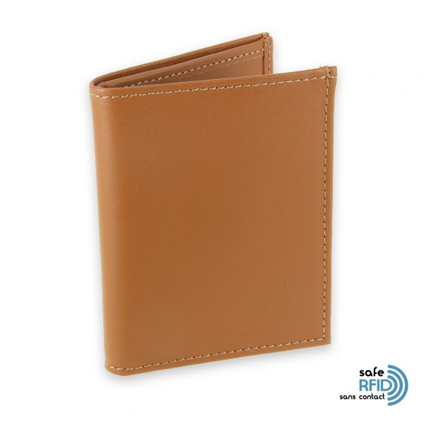 card holder leather 4 cards bill holder beige gold leather contactless card protection rfid 1