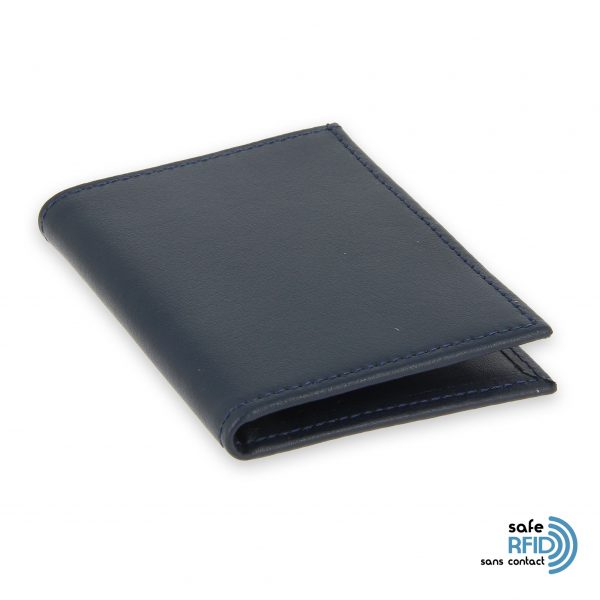card holder leather 4 cards bill holder navy blue leather protection card contactless rfid 2