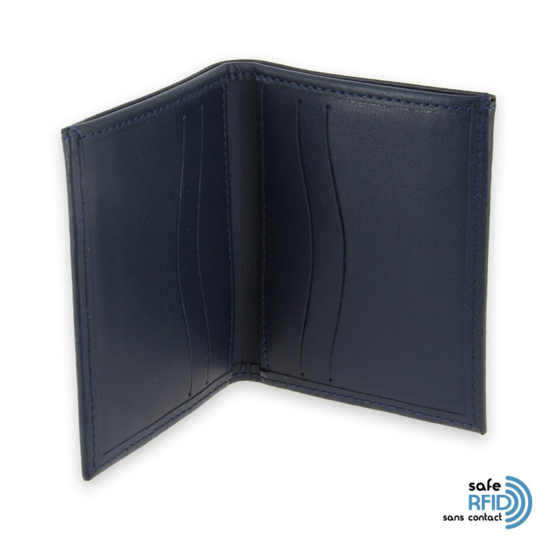 card holder leather 4 cards bill holder navy blue leather protection card contactless rfid 3