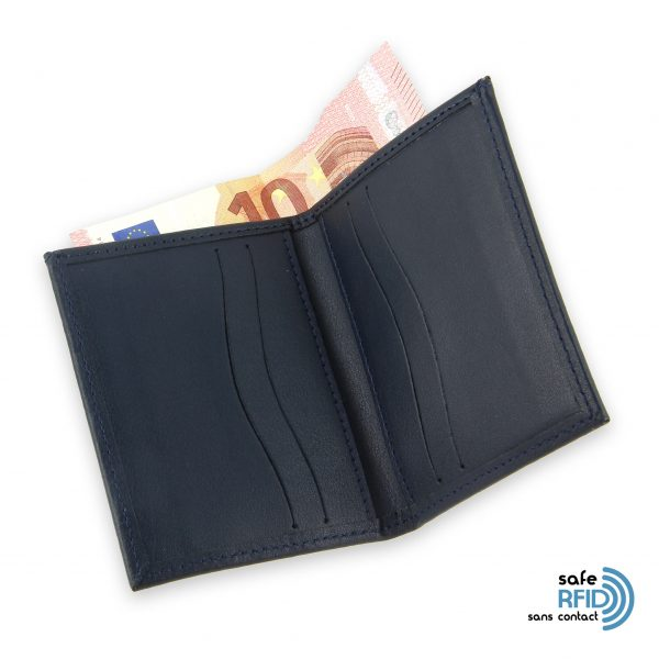 card holder leather 4 cards bill holder navy blue leather protection card contactless rfid 4