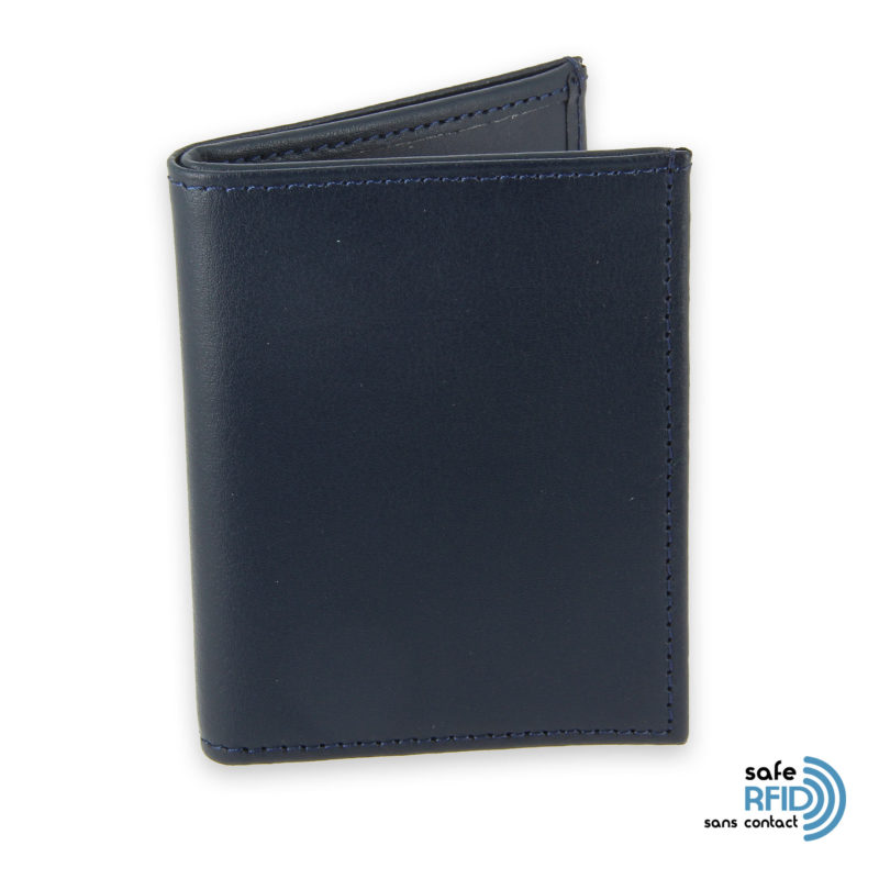 card holder leather 4 cards bill holder navy blue leather contactless card protection rfid 1