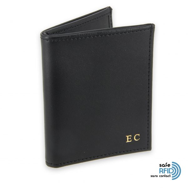 card holder leather 4 cards bill holder black leather protection card contactless rfid initials