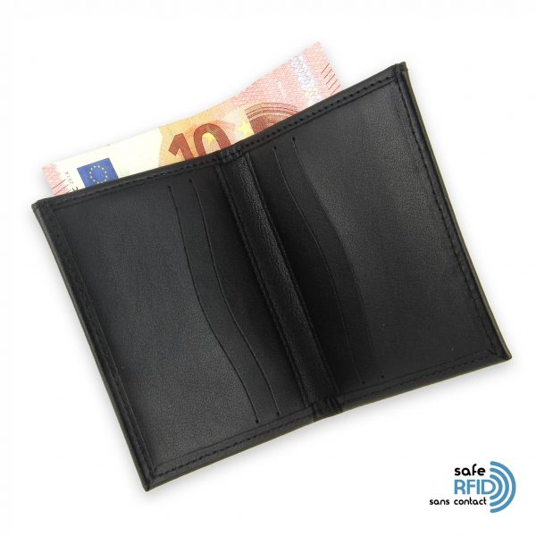 card holder leather 4 cards bill holder black leather protection card contactless rfid 4