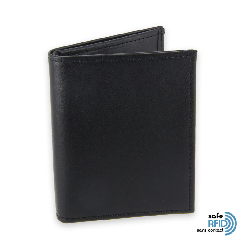 card holder leather 4 cards bill holder black leather contactless card protection rfid 1