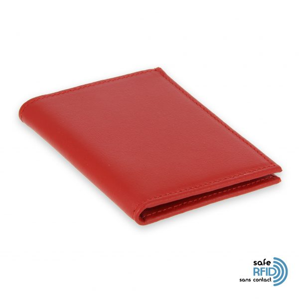 card holder leather 4 cards bill holder red leather protection card contactless rfid 2