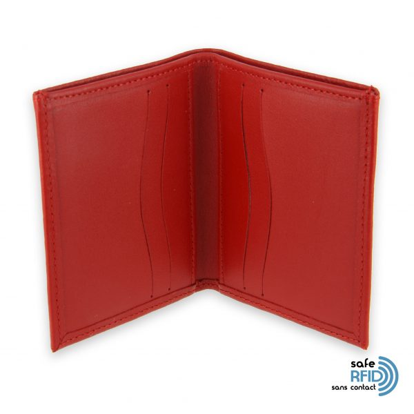 card holder leather 4 cards bill holder red leather protection card contactless rfid 3