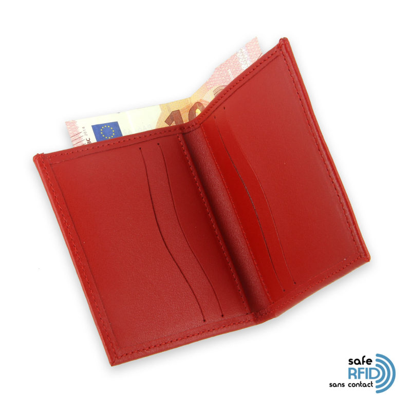 card holder leather 4 cards bill holder red leather protection card contactless rfid 44