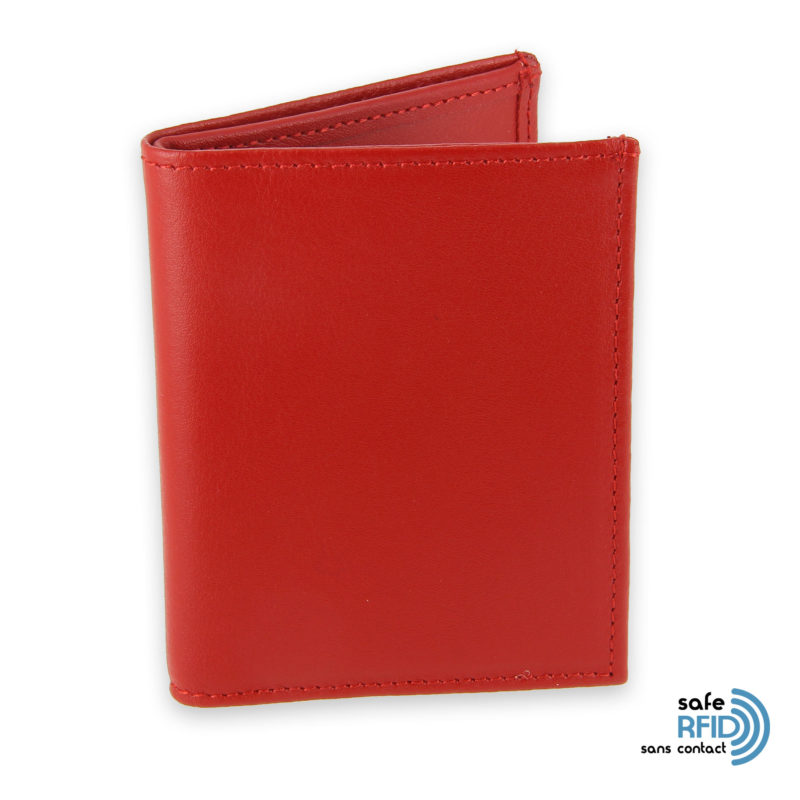 card holder leather 4 cards bill holder red leather contactless card protection rfid 1