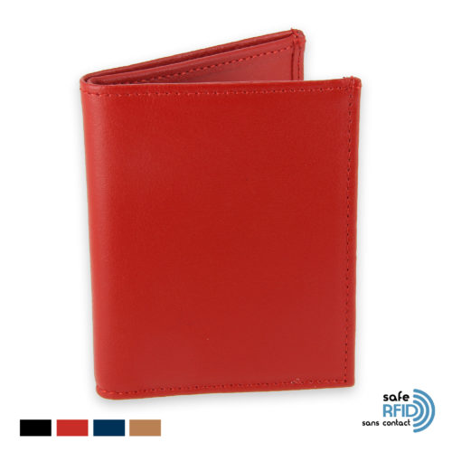 Card holder 4 cards Ticket holder leather Card protection contactless RFID red