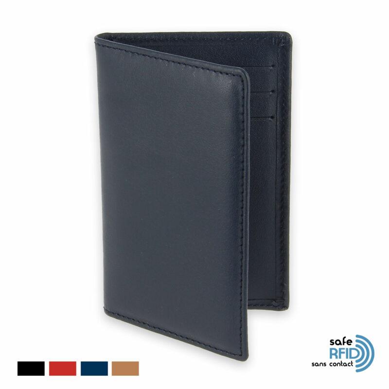 etui 6 cartes bancaires protection carte paiement sans contact rfid bleu marine