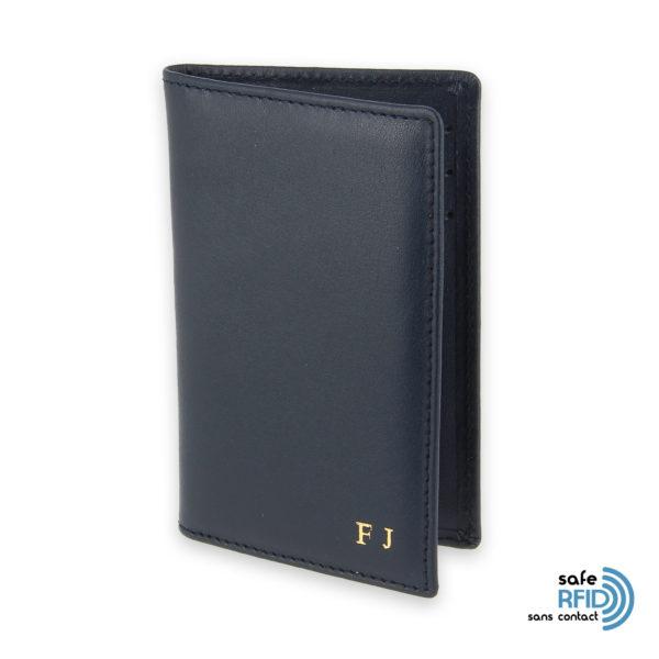 porte cartes 6 cartes cuir bleu marine protection carte sans contact rfid init