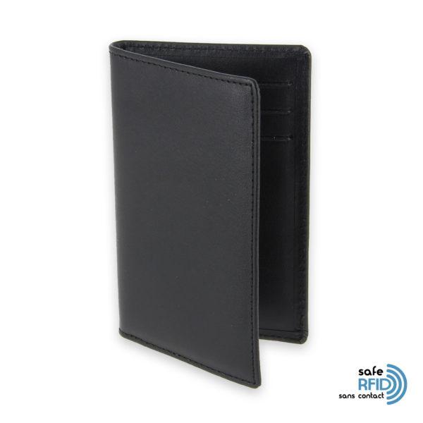 porte cartes 6 cartes cuir noir protection carte sans contact rfid 1