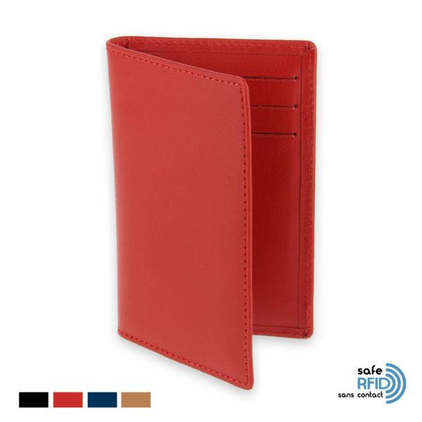 etui 6 cartes bancaires protection carte paiement sans contact rfid rouge