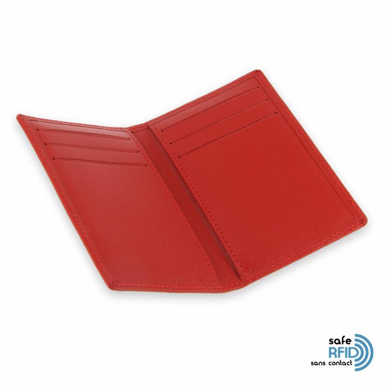 porte cartes 6 cartes cuir rouge protection carte sans contact rfid 3
