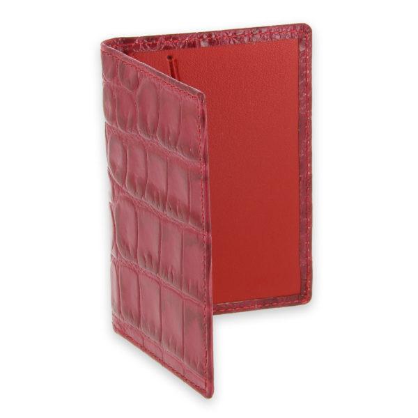 porte cartes facon croco rouge rose 2