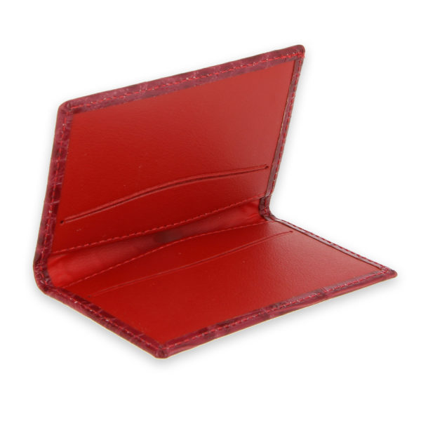 porte cartes facon croco rouge rose 3