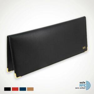 Porte-chéquier Cuir Classique Protection carte paiement sans contact RFID noir-initiales