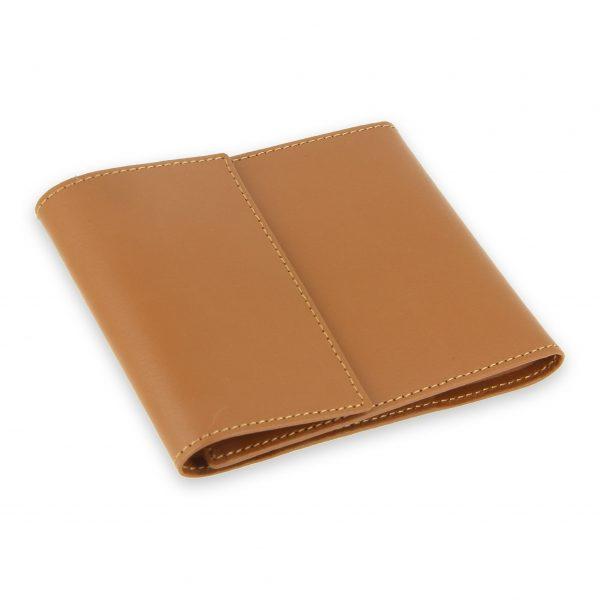 porte chequier pliable cuir beige gold 3 cartes talon gauche 2