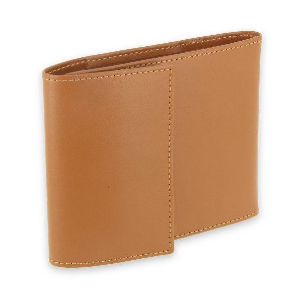 porte chequier pliable cuir-beige gold 3 cartes talon gauche 1