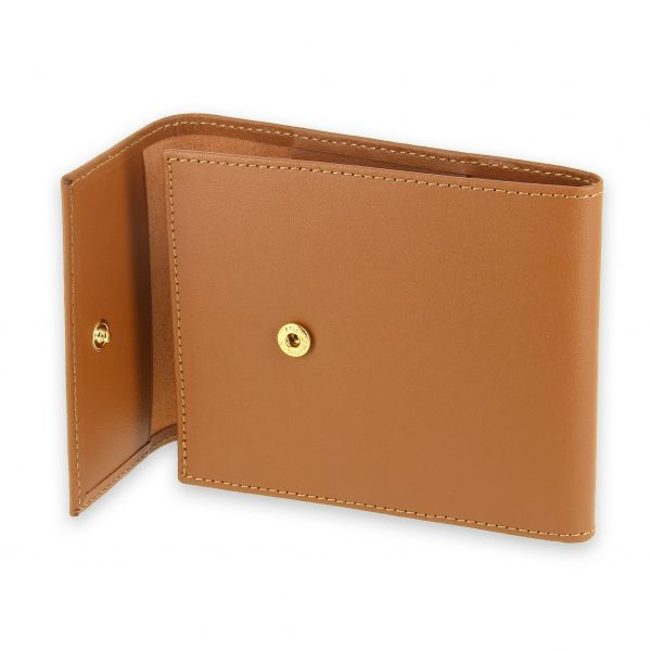 porte chequier pliable cuir beige gold 3 cartes talon gauche 4