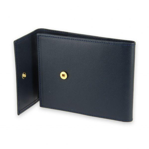 porte chequier pliable cuir bleu marine 3 cartes talon gauche 4