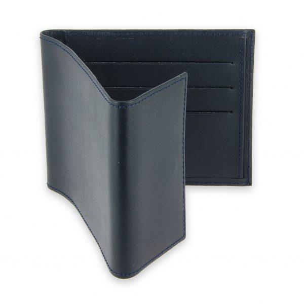 porte chequier pliable cuir bleu marine 3 cartes talon gauche 3