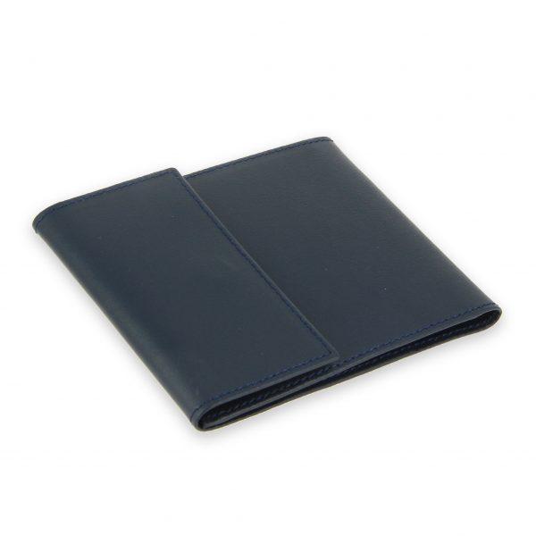 porte chequier pliable cuir bleu marine 3 cartes talon gauche 2