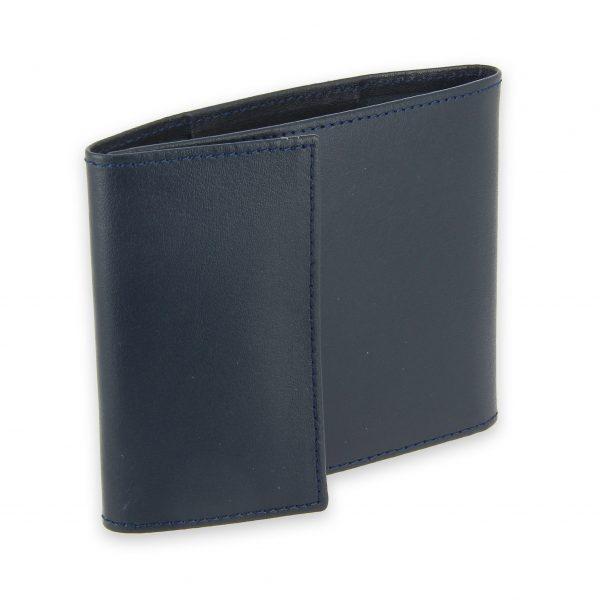 porte chequier pliable cuir bleu marine 3 cartes talon gauche 1