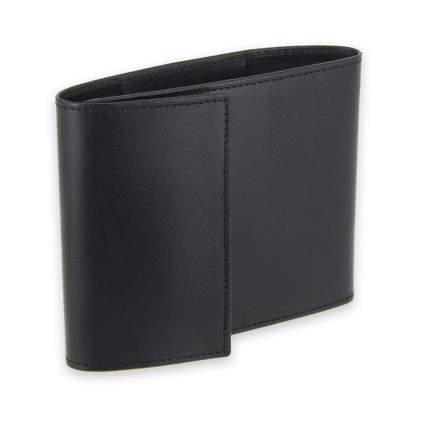 porte chequier pliable cuir noir 3 cartes talon gauche 1