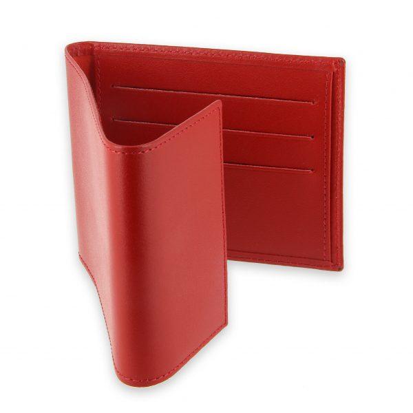 porte chequier pliable cuir rouge 3 cartes talon gauche 3