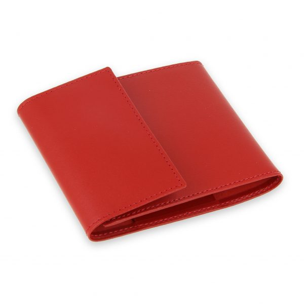 porte chequier pliable cuir rouge 3 cartes talon gauche 2