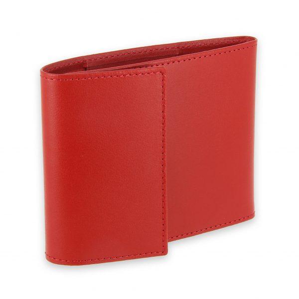 porte chequier pliable cuir rouge 3 cartes talon gauche 1